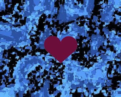 Violet Heart On Blue Pattern Valentine  Art Print