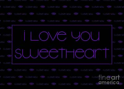 Digital Art - Violet I Love You by JH Designs