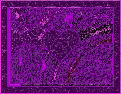 Violet Indigo Magenta Valentine Carved In Stone II Art Print