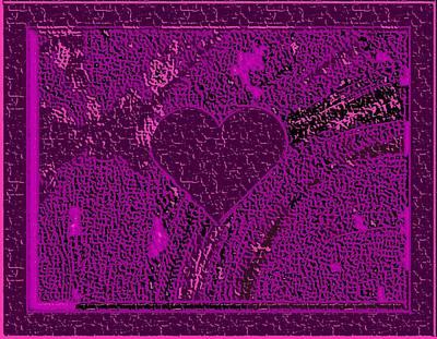 Violet Indigo Magenta Valentine Carved In Stone Iv Art Print