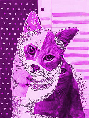 Cats Painting - Violet Moxie ... Abstract Cat Art  by Amy Giacomelli