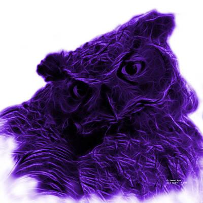 Owl Digital Art - Violet Owl 4229 - F S M by James Ahn