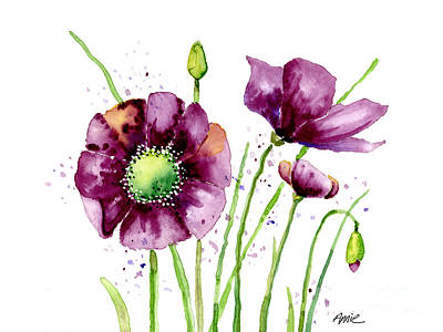 Violet Poppies Art Print by Annie Troe