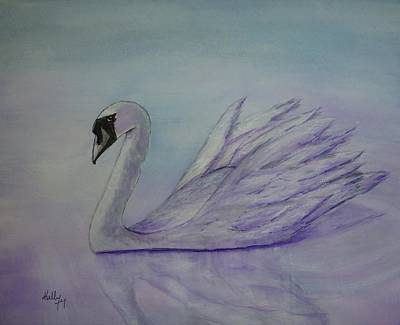 Swans Painting - Violet Swan by Kelly Mills