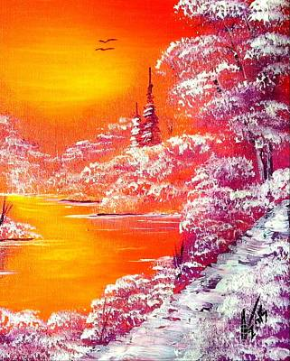 Winter Sunset Painting - Violet Twilight by Collin A Clarke