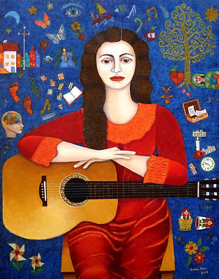 Violeta Parra And The Song Thanks To Life Art Print by Madalena Lobao-Tello