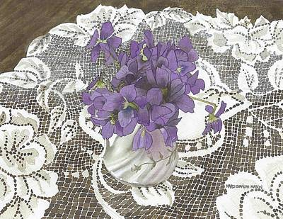 Violets And Lace Original by Marci Evancho  Mason