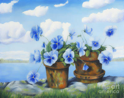 Traditional Still Life Painting - Violets On The Beach by Veikko Suikkanen