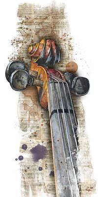 Recently Sold - Music Paintings - Violin 01 Elena Yakubovich by Elena Yakubovich