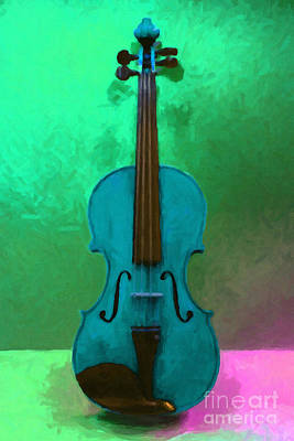 Blue Violin Photograph - Violin - 20130111 V2 by Wingsdomain Art and Photography