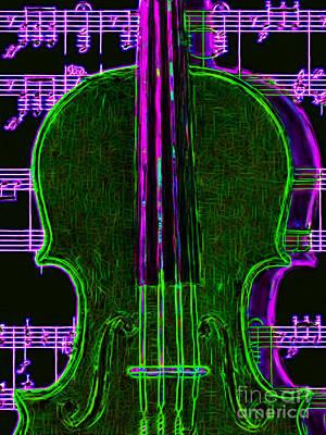 Viola Digital Art - Violin - 20130128v4 by Wingsdomain Art and Photography