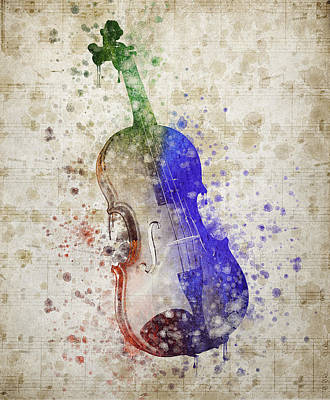 Violin Mixed Media - Violin by Aged Pixel