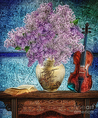 Photograph - Violin And Lilac by Mo T