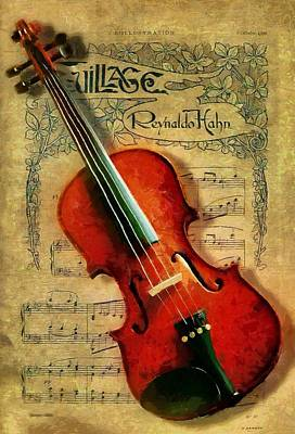 Art Print featuring the painting Violin And Notes by Kai Saarto