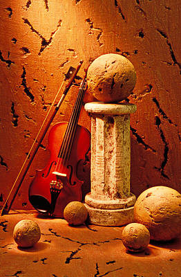 Stone Balls Photograph - Violin And Pedestal With Stone Balls  by Garry Gay