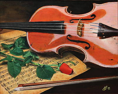 Violin And Rose Art Print