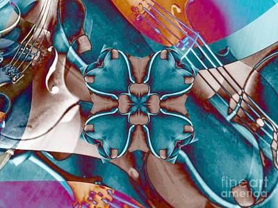 Violin Collage Clover Art Print