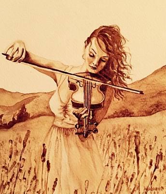 Coffee Painting - Violin Girl by Julee Nicklaus