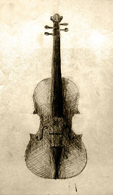 Still Life Drawings - Violin by Elizabeth Ida Novotna