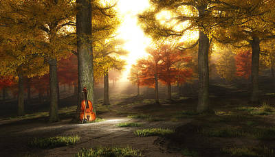 Digital Art - Violin In Autumnal Park by Bruce Rolff