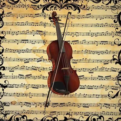 Digital Art - Violin  by Louis Ferreira