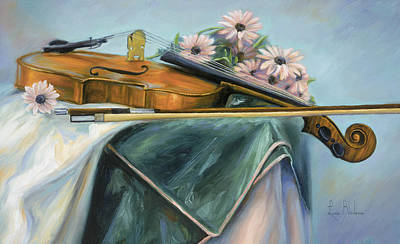Violin Painting - Violin by Lucie Bilodeau