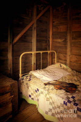 Bed Quilts Photograph - Violin On Bed by Jill Battaglia