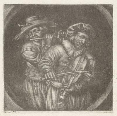 Violin Player Drawing - Violin Player And Flutist, Jan Van Somer by Jan Van Somer And Adriaen Brouwer