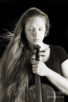 Photograph - Violin Player Black And White by M K Miller