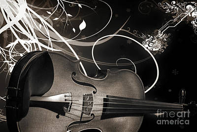 Photograph - Violin Viola From Fantasy World In Sepia 3066.01 by M K Miller