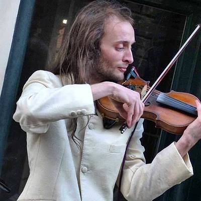 Music Photograph - #violin #violinist #whitby #yorkshire by Pamela Harridine