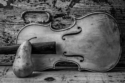 Beaten Up Photograph - Violin With Pear by Garry Gay