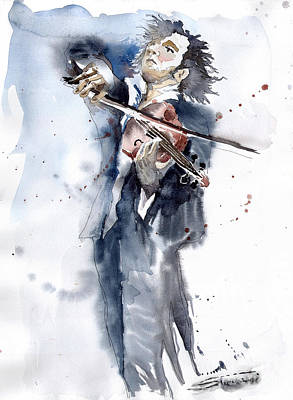 Celebrities Painting - Violine Player 1 by Yuriy  Shevchuk