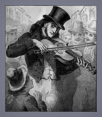 Photograph - Violinist And Composer Paganini As A Street Musician by Phil Cardamone