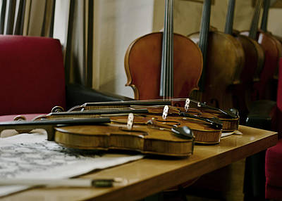 Music Wall Art - Photograph - Violins by Urte Berteskaite