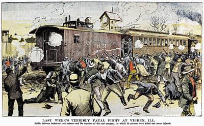 Caboose Drawing - Virden Massacre 1898 by Granger