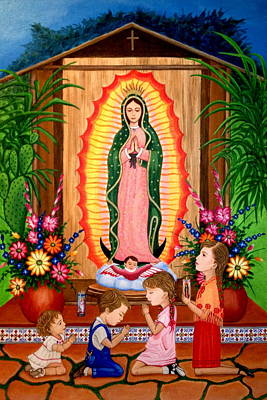 Painting - Virgen De Guadalupe #3 by Evangelina Portillo