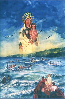 Watercolor Painting - Virgen Del Carmen I by Estela Robles