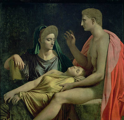 Nude Wife Photograph - Virgil 70-19 Bc Reading The Aeneid To Livia, Octavia And Augustus, 1819 Oil On Canvas by Jean Auguste Dominique Ingres