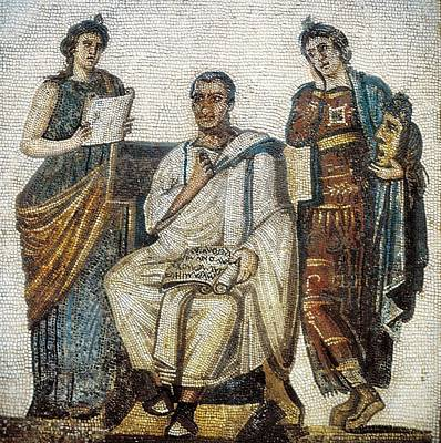 Virgil And The Muses. 3rd C. Roman Art Art Print by Everett