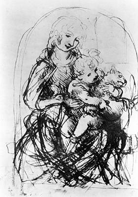Jesus Drawing - Virgin & Child With A Cat by Granger