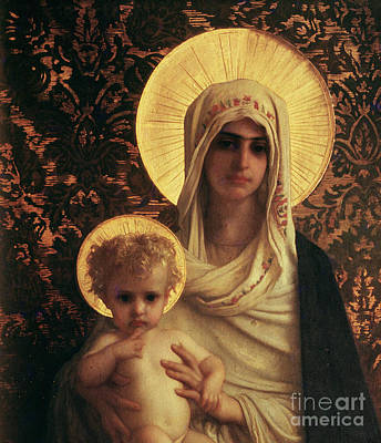 Prayer Painting - Virgin And Child by Antoine Auguste Ernest Herbert