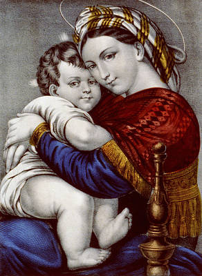Protector Painting - Virgin And Child Circa 1856  by Aged Pixel