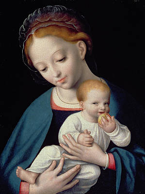 Embrace Painting - Virgin And Child by Cornelis van Cleve