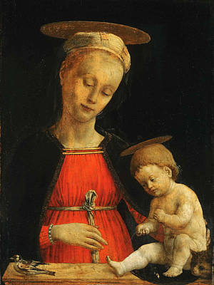 Religious Art Painting - Virgin And Child With A Bird And A Cat by Giovanni Martino Spanzotti