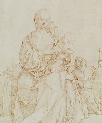 Religion Drawings Drawing - Virgin And Child With Infant St John by Albrecht Durer or Duerer