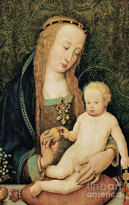 Child Jesus Painting - Virgin And Child With Pomegranate by Hans Holbein the Younger