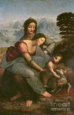 Religion Painting - Virgin And Child With Saint Anne by Leonardo Da Vinci