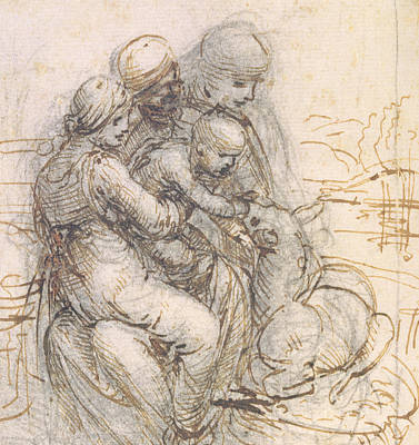 Sheep Drawing - Virgin And Child With St. Anne by Leonardo da Vinci