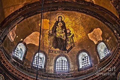 Turkey Photograph - Virgin Mary And Child Mosaic At The Hagia Sophia by Shishir Sathe
